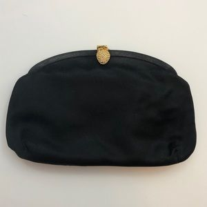 Black BERGDORF silk strawberry rhinestone clutch